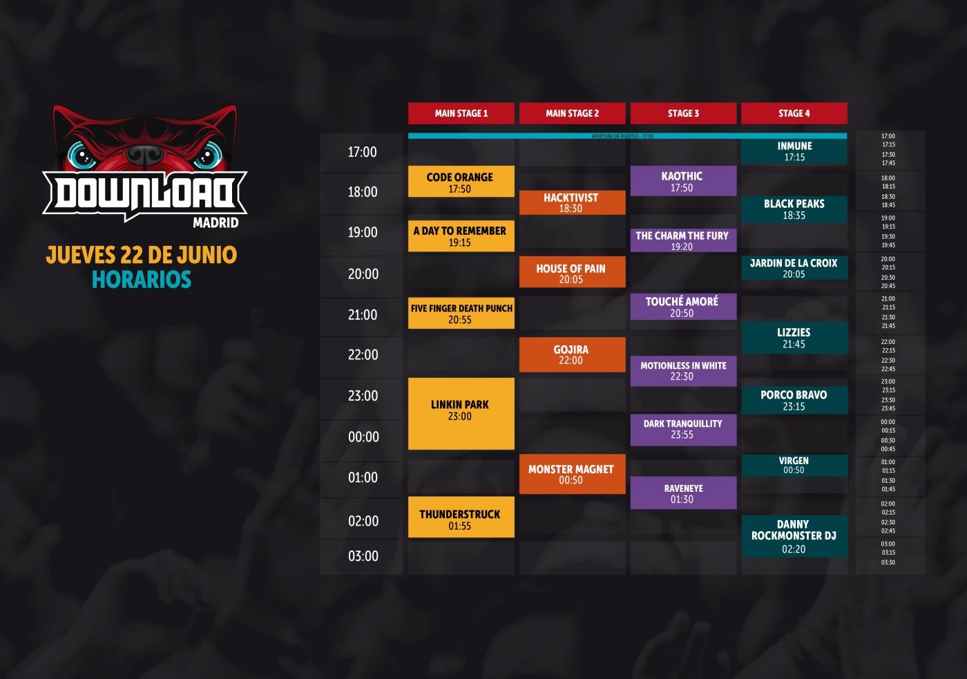 horario download festival jueves